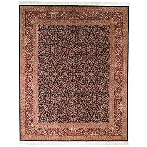 (Safavieh Royal Kerman Collection RK31A Hand-Knotted Black and Red Wool Area Rug (8' x 10'))