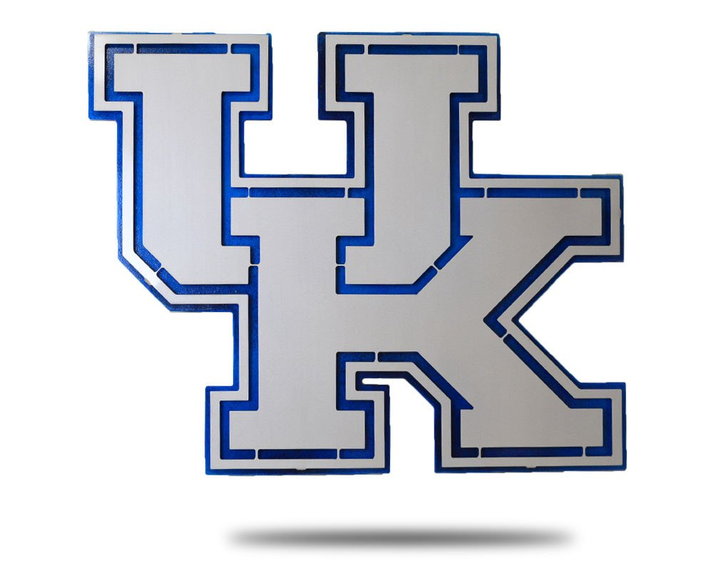 Gear New University of Kentucky Logo 3D Vintage Metal College Man Cave Art, Large, Grey/Blue