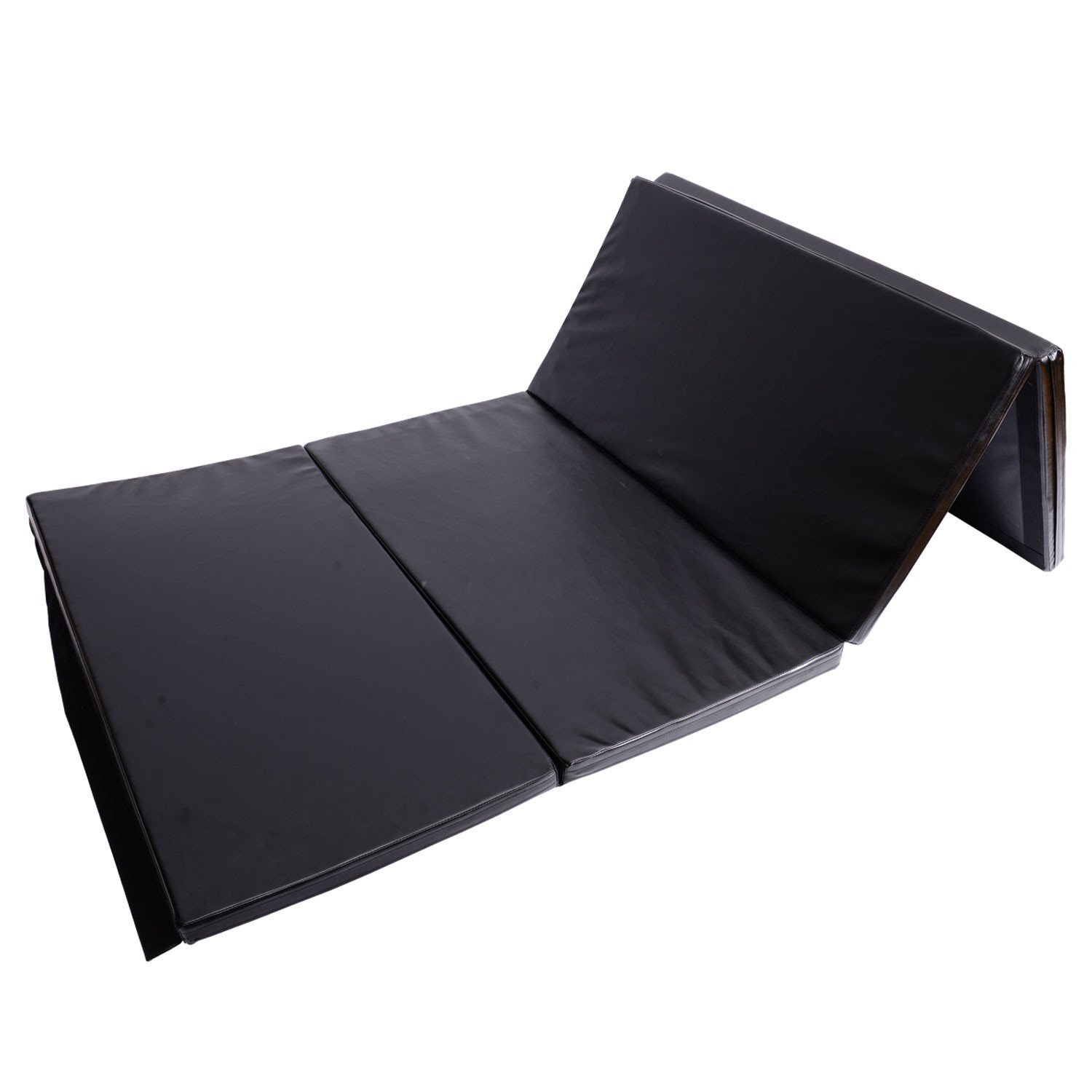 Exercise Gym Yoga Mat 4' x 8' x 2'' PU Leather Folding Tumbling Pad Stretching Fitness With Ebook by MRT SUPPLY