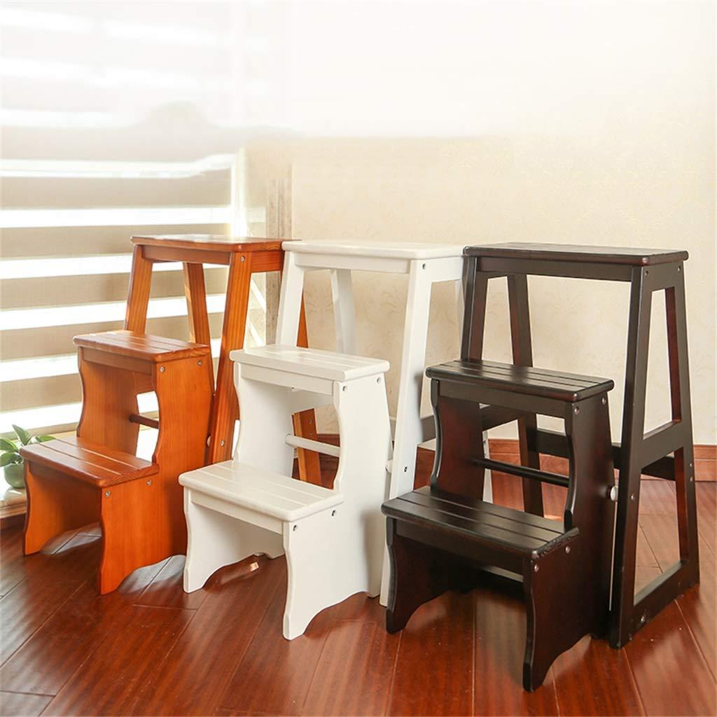 H/öhe 64 cm Schwerlast Schritt Hocker 2 Stufen Holzleiter Tragbarer Klappstuhl Treppenleiter f/ür den Haushalt Verbreiterter Hocker f/ür Kinder//Erwachsene