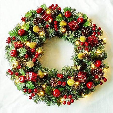 ZRYJWG Pre-Lit Guirnalda adornada iluminado con luces blancas LED, 45 cm guirnaldas de Navidad al aire libre for interior o exterior de la decoración de Navidad colgar en puertas, paredes, escaleras y: