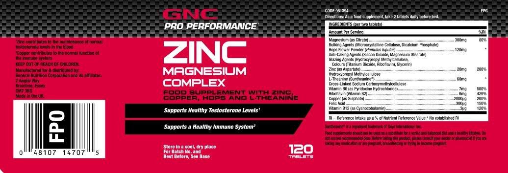 Gnc Complejo de zinc magnesio de rendimiento profesional: Amazon.es: Salud y cuidado personal