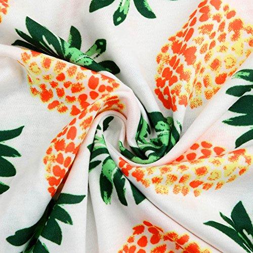 Manica T Cactus Cime B Corta Sciolto Camicetta Stampa Ananas Donne Giacca Estate shirt Elegante Bianco Casual Maglietta Tops Weant Donna Giallo Blusa Girocollo Camicie dxYvgnd