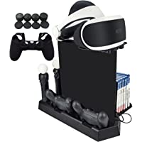 Hikfly Multifunction Vertical Stand Cooling Fan Dualshock4 Controller Charging Station Kit for PS4/PS4 Slim/PS4 Pro Consoles with Game Storage,PS Move Charger,Tray for PSVR,USB 2.0 HUB