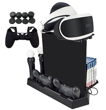 Hikfly Multifunción Soporte vertical Ventilador Kit de estación de carga del controlador Dualshock4 para PS4 /