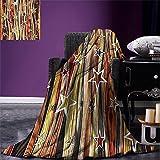 smallbeefly Rustic Digital Printing Blanket Vertical Wavy Stripes Oak Timber Wood Design with Various Star Figures Summer Quilt Comforter Black Pale Coffee Brown