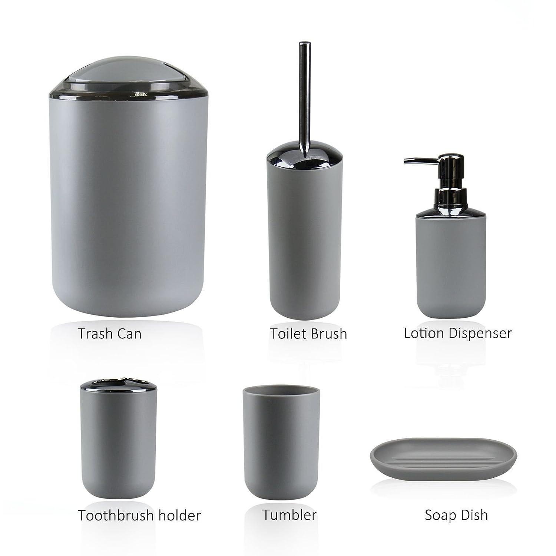 Bathroom Accessories Set IMAVO 6 Pcs Plastic Toothbrush Holder ...