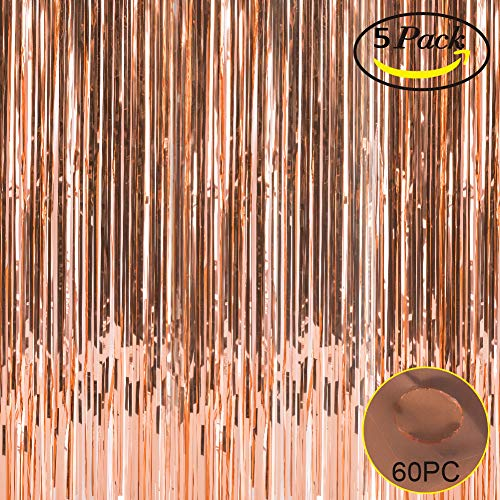 Foil Fringe Metallic Curtain Backdrops - with Balloon Sticks 3.3FTX6.6FT Tinsel Shiny Curtains Perfect for Photo Booth Party/Window/Door Decorative Fringe Curtains (5 Pics,Rose Gold)]()