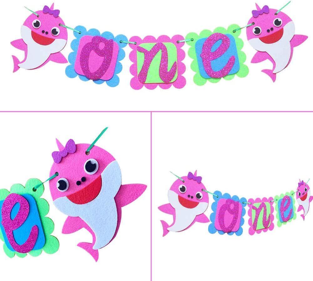 One Birthday Baby Shark Pink Banner 1st Birthday Shark Highchair Banners Doo Doo Shark First Birthday Party Decoration 1th Year Party Supplies For Girls