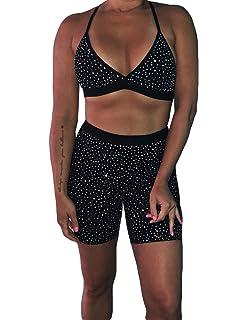 946c54ab61 Women's Rhinestone Glitter See Through Hollow Out V Neck Halter Crop Top  Shorts Set Bodycon 2