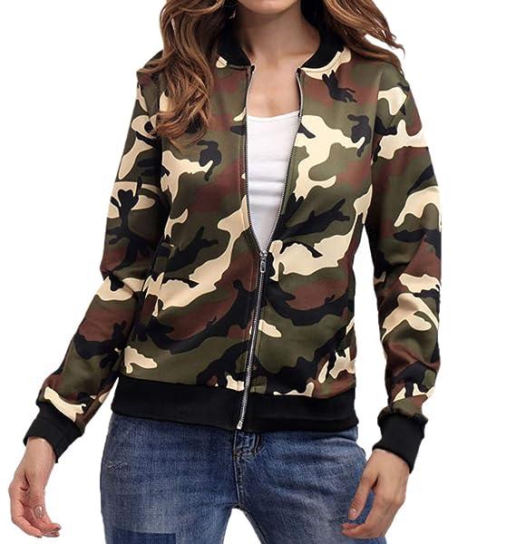 Mujeres Bomber Chaquetas Camuflaje Outerwear Cazadora Blouse Coat Casual Manga Larga Jacket Ropa de Abrigo Tops: Amazon.es: Ropa y accesorios