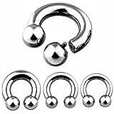 Lobal Domination Pair Internally Threaded Circular Barbells Horseshoes Pierced Body Jewelry 00g,0g,2g,4g,6g,8g,10g
