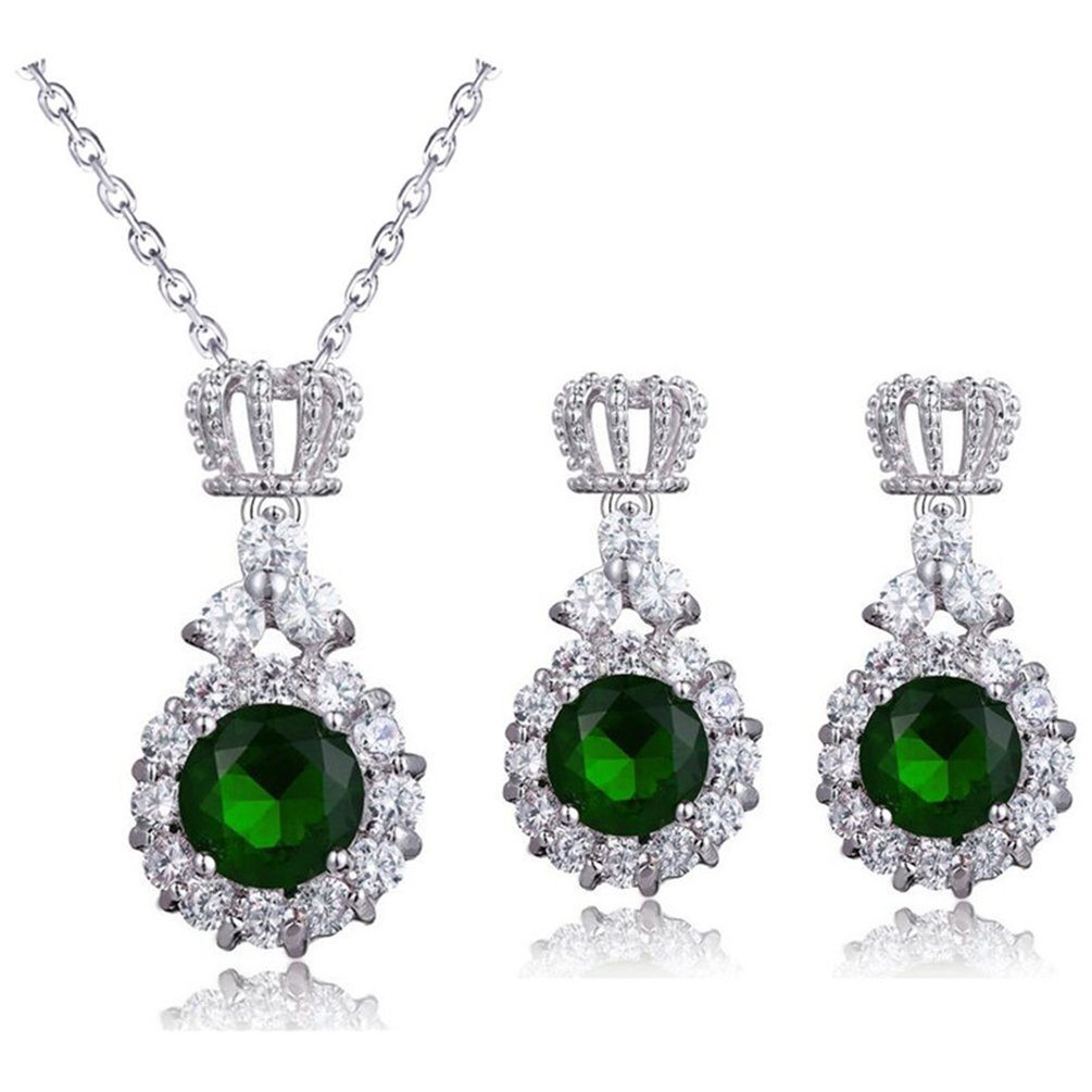 omylady Crown Cubic Zirconia Necklace Earrings Jewelry Sets for Women Bridal Wedding Party Crystal Jewelry Set (Green)