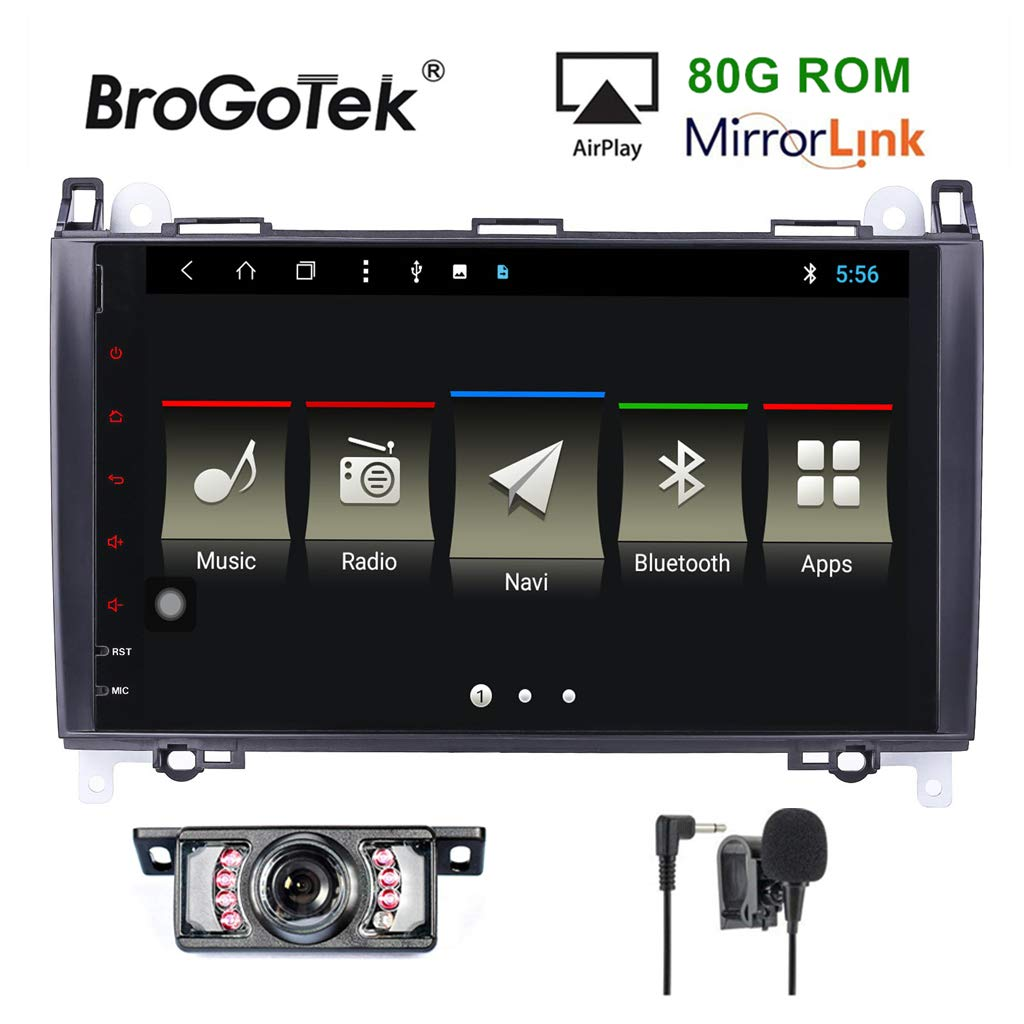 BroGoTek Android 8.1 Car Stereo Radio 80G ROM for Mercedes-Benz A-Class W169 B-Class W245 Viano Vito Sprinter W906 GPS Navigation Headunit 9 Inch Touch Screen Supports WiFi Bluetooth SWC