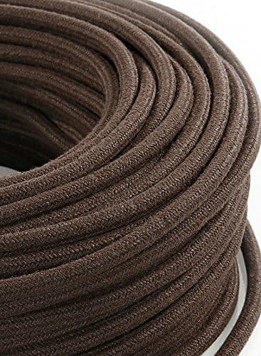 abat jour Cavo elettrico tondo rotondo rivestito in tessuto colorato Nero 3 metri 3x0,75 per lampadari lampade Made in Italy! design
