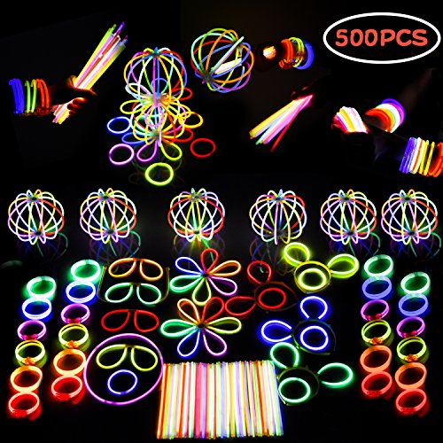 Baby Glow Stick Costume (Glow Stick LED Light Up Party Favors Bulk Birthday, Halloween Party Supplies Includes Glowsticks, Bracelets, Glasses, Butterfly Pumpkin Hair Clip Accessories, Hair Clasp Illuminate Party Kit - 500 pcs)