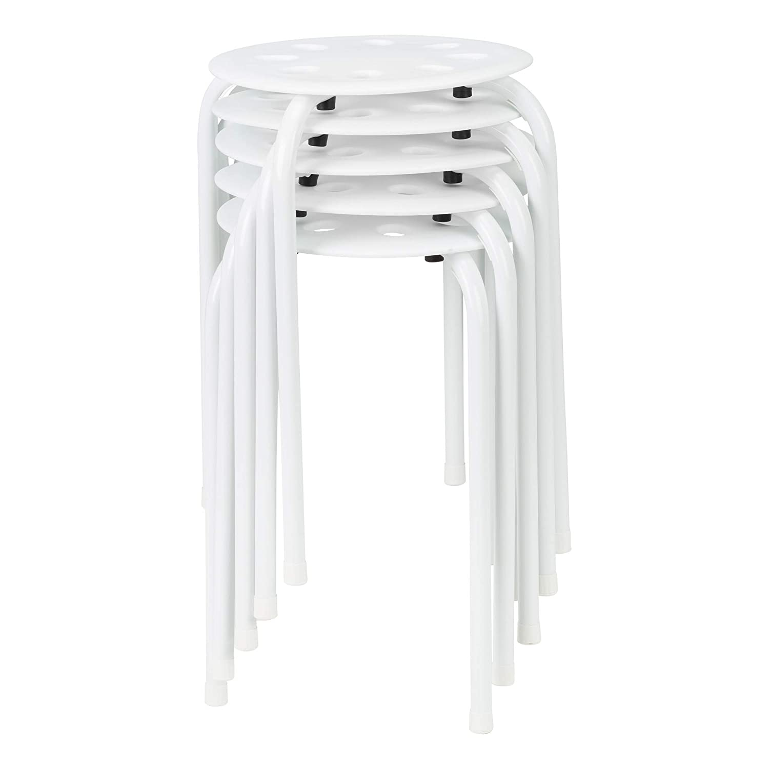 Norwood Commercial Furniture White Plastic Stack Stools (Pack of 5) NOR-STOOLWW-SO