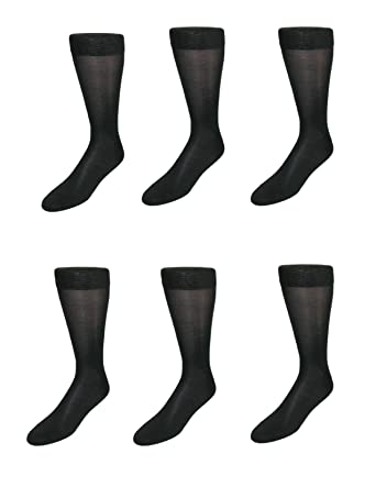 e0990465db411 Windsor Collection Men's Silk Mid Calf Dress Socks (Pack of 6), Black at  Amazon Men's Clothing store: