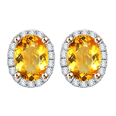 63cdf0d9a KATARINA Diamond and Oval Cut Citrine Stud Earrings in 10K Rose Gold (1 2/