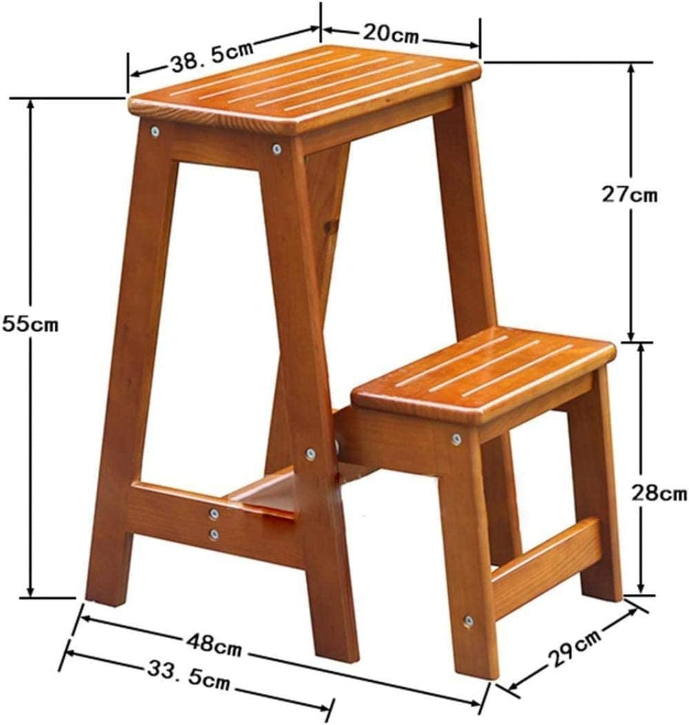 Dirty hamper Step stool Pine Step Stool 2 Steps Stool Change Shoe Bench Foldable Ladder High Ladder Garden Kitchen Tool Stair Stool, 29 * 48 * 55cm folding chairs (Color : D) A