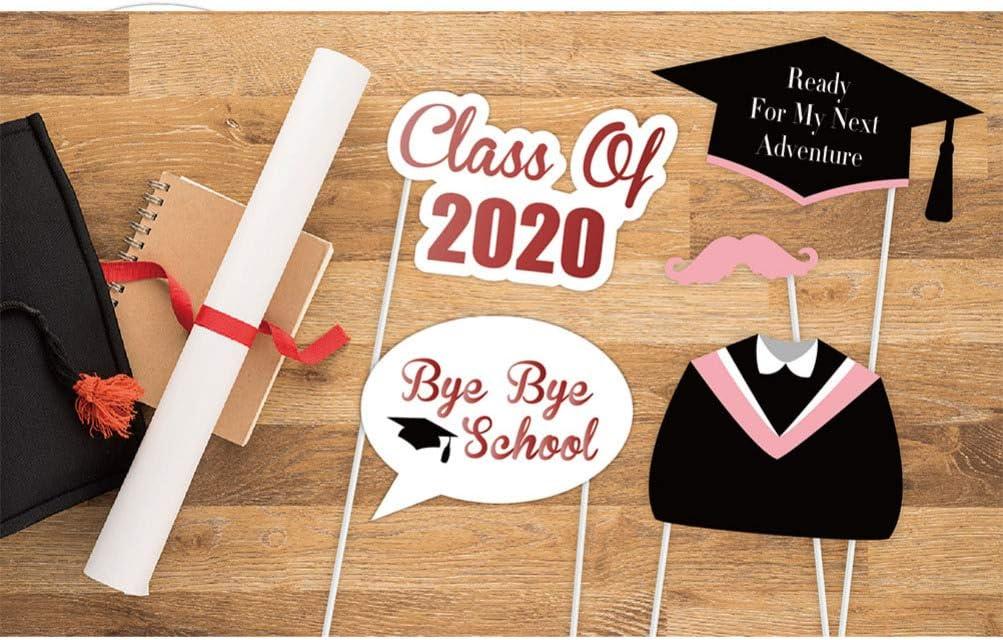 Amosfun 27pcs Graduation Photo Booth Props 2020 Pink Graduation Photo Props Class of 2020 Grad Decoration for Congratulations Graduation Party Favor Supplies