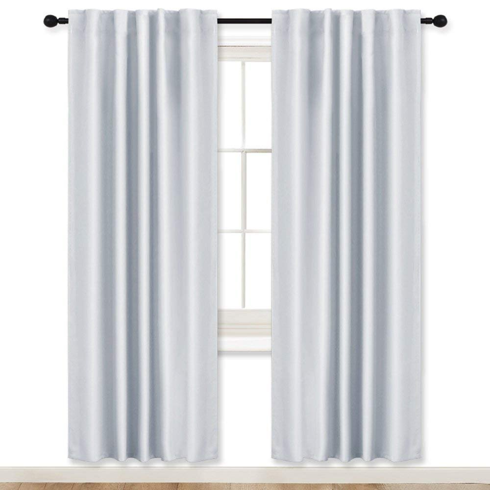 RYB HOME Living Room Curtains Greyish White (42'' W by 72'' L, Set of 2) Thermal Insulated Noise Reducing Room Darkening Draperies for Window Covering/Dressing Back Tab & Rod Pocket