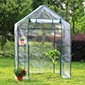 New Clevr 6.5' Portable 4 Shelves Walk In Greenhouse Outdoor 3 Tier Green House