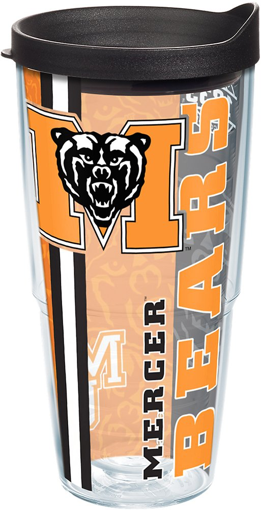 Tervis 1229654 Mercer Bears College Pride Tumbler with Wrap and Black Lid 24oz Clear