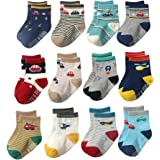 YoungSoul 12 Pairs Little Boys Non Slip Anti Skid Colored Socks with Grips