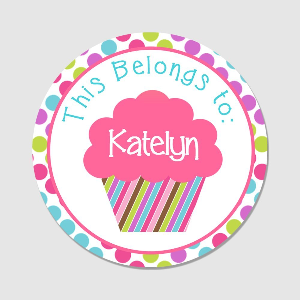 40 Customized Round Kid's Cupcake Name Stickers - Back to School Name Labels (NT101)