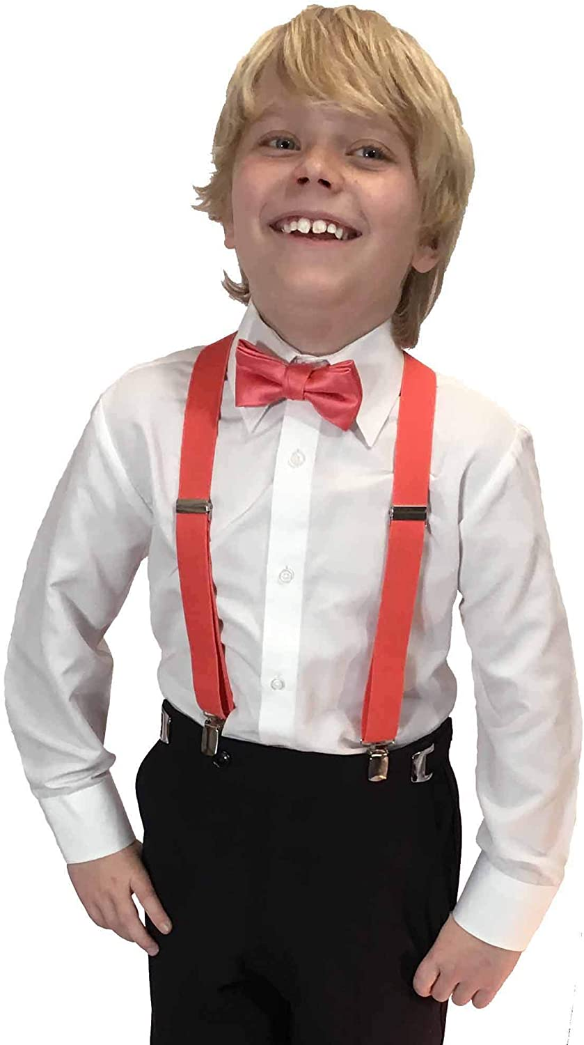 Spencer Js Boys X Back Suspenders /& Bowtie Set Variety of Colors