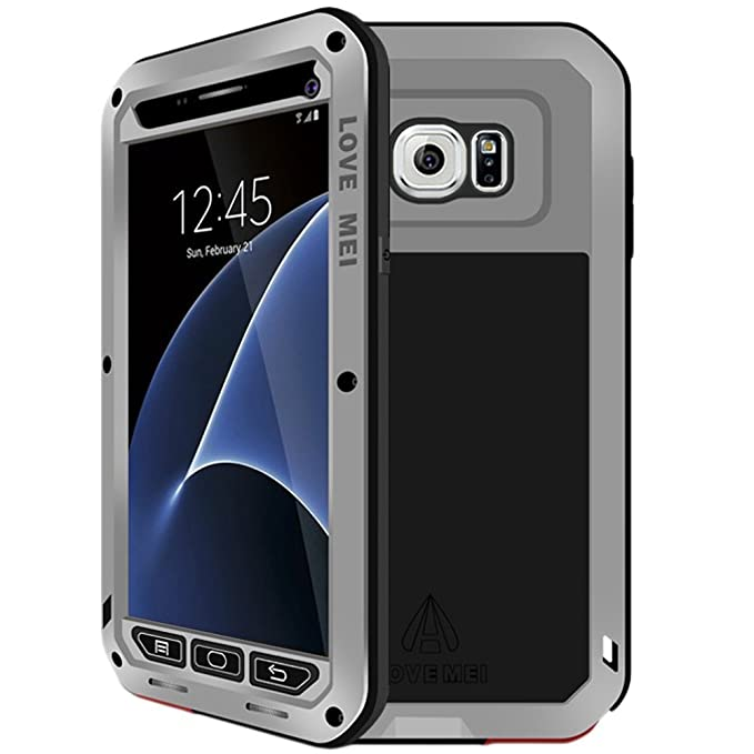 timeless design f4aec 1629b Galaxy S7 Case, Hwota Waterproof Gorilla Glass Luxury Aluminum Alloy  Protective Metal Extreme Shockproof Military Bumper Heavy Duty Cover Shell  Case ...