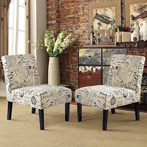 Harper&Bright Designs Upholstered Armchair Accent Chair for Living Room Set of 2, Beige/Script