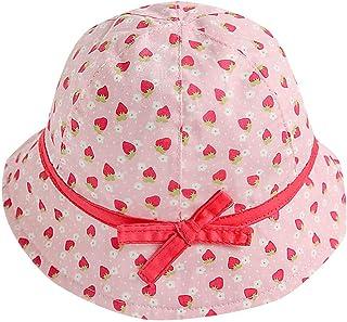 Lomsarsh Kids Baby Girl Fruit Print Bowknot Beach Cap Princess Sun Protection Hats Strawberry Bow Print Flower Pot Fisherman Hat Visor Princess Hat