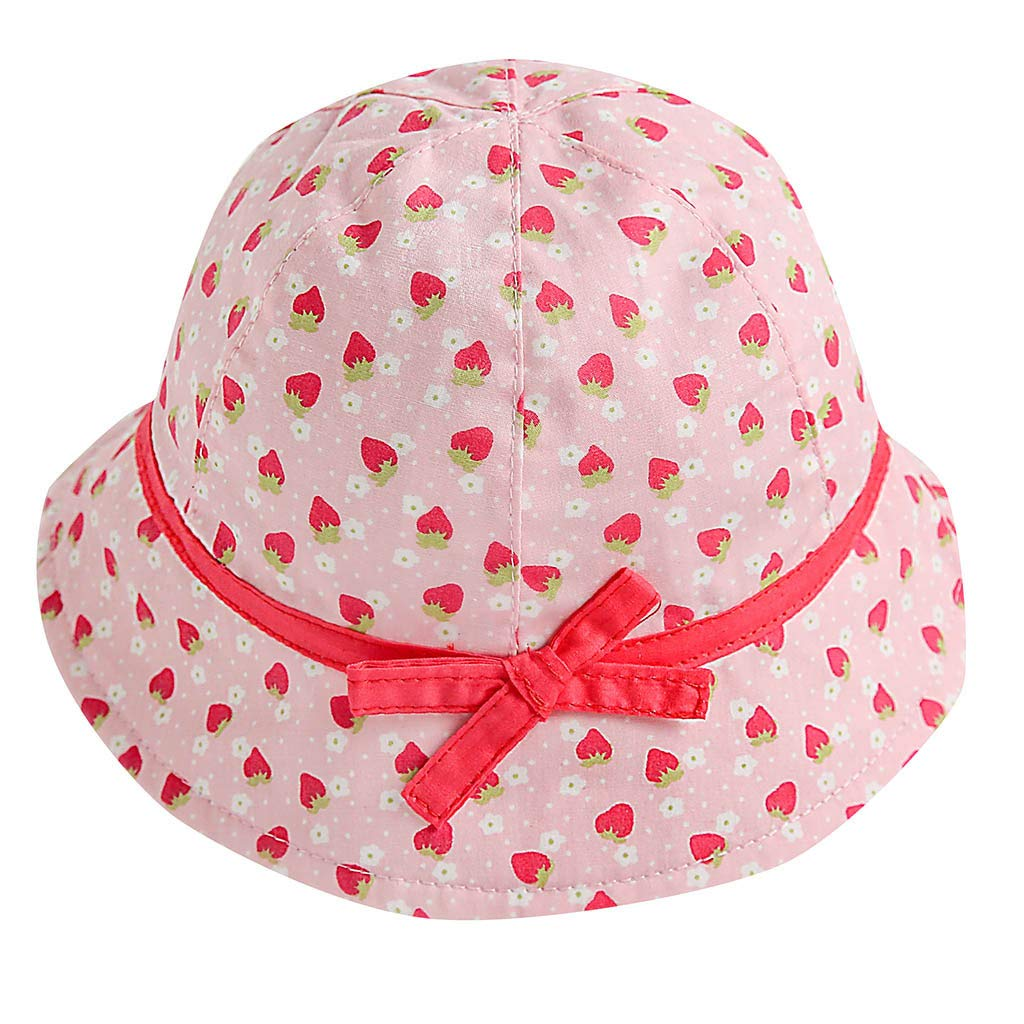 Fabal Kids Baby Girl Fruit Print Bowknot Beach Cap Princess Sun Protection Hats Pink