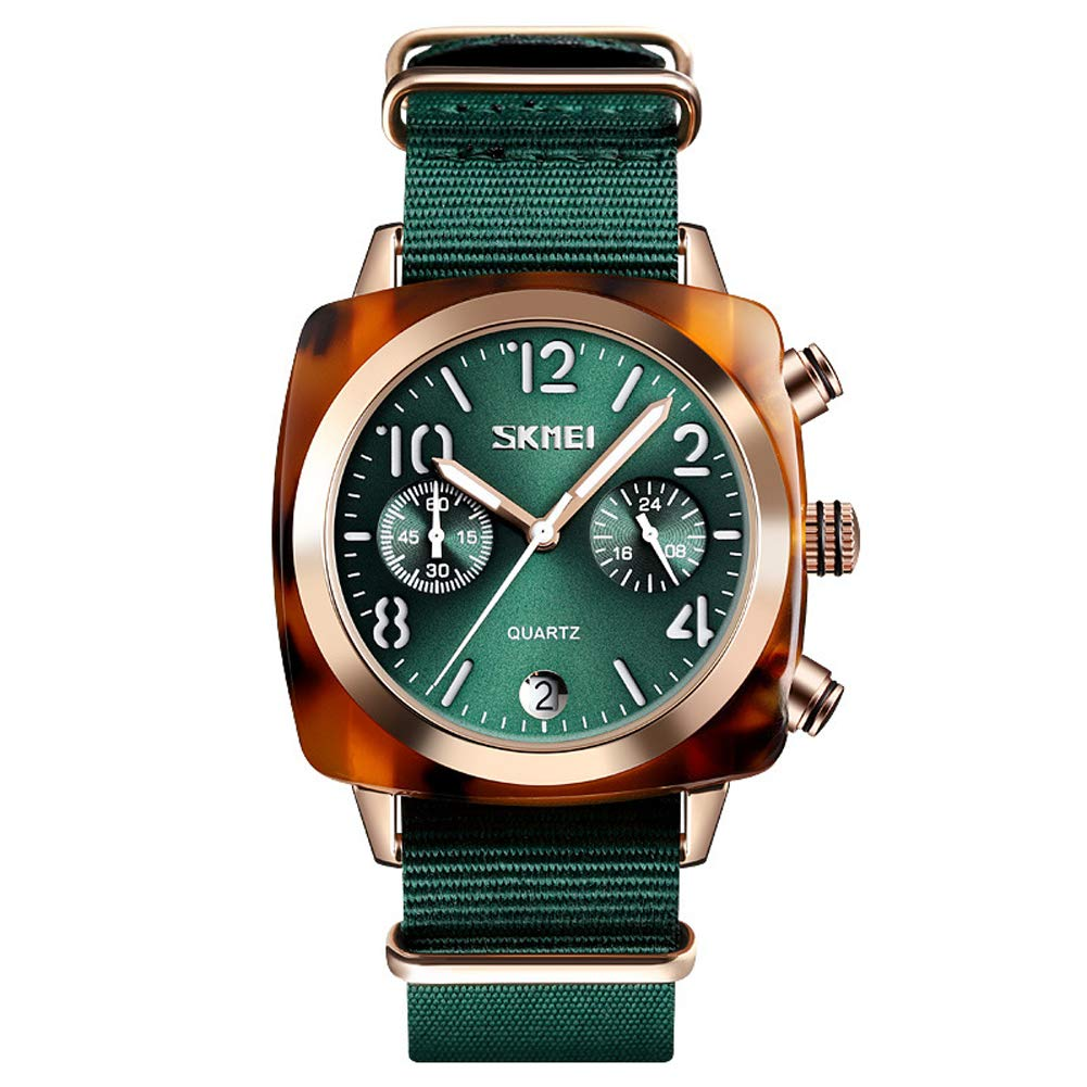 SPORS Personalized Canvas with Men's Watch, British Quartz Watch, Sports Trend Watch-Green-Gold by SPORS