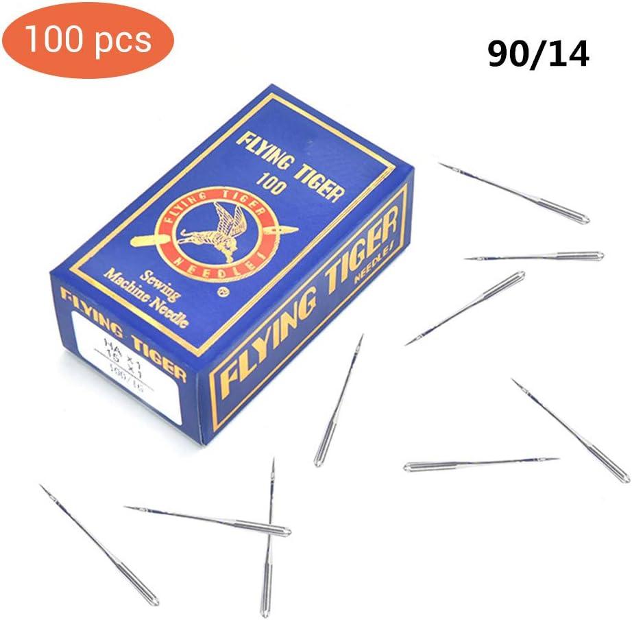 100 PCS agujas para máquinas de coser, varios tamaños 65/9, 75/11, 80/12, 90/14, 100/16, 110/18