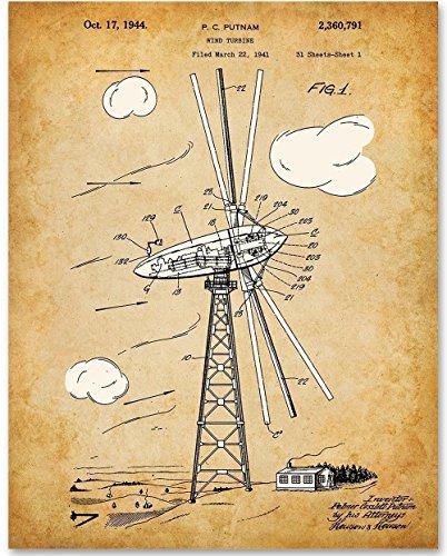 Wind Turbine - 11x14 Unframed Patent Print - Medium Antique Brown Blades