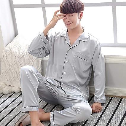 SALICEHB Pijama Pareja Pijamas De Seda De Otoño Invierno Conjunto Satén Ropa De Dormir De Manga