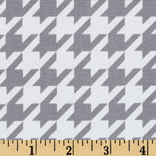 Riley Blake Designs Cotton Jersey Knit Medium Houndstooth Fabric by The Yard, Grey
