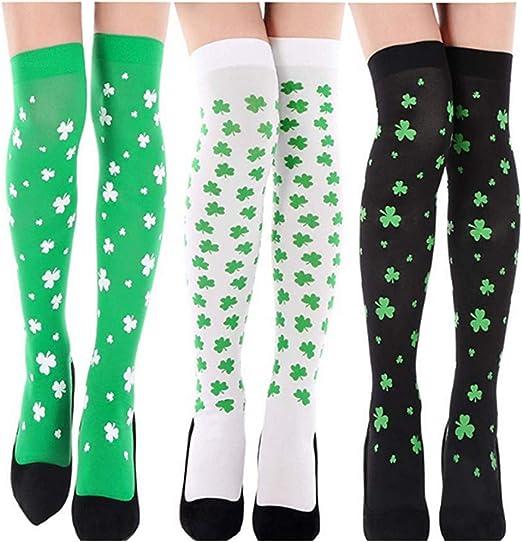 Ladies Green Irish Shamrock Over The Knee Socks Womens St Patricks Day OTK Socks