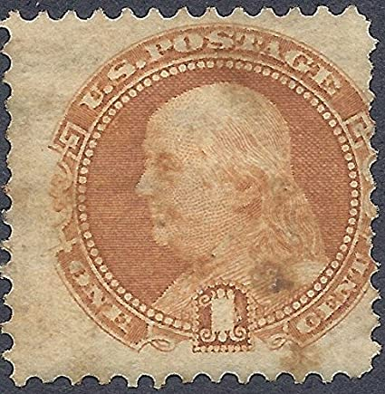 1869 US Postage Stamp 1 Cent Franklin Buff Used XF Condition Scott 112