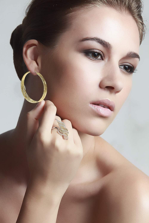 Yumay Boucles doreilles cr/éoles multicouches plaqu/é or blanc 9 carats pour femmes et filles 50 mm .