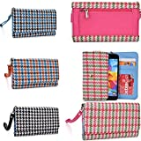 zte blade vec 4g - Wallet phone holder- accented coin zipper- Retro Houndstooth plaid pattern- Universal fit for ZTE Blade Vec 4G