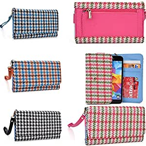 Smartphone wallet wristlet: glen plaid pattern: Soft Pink/Kiwi Green: Universal design fits Oppo R819