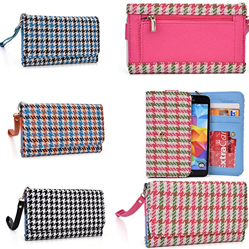 Wallet Phone Holder  Accented Coin Zipper  Retro Houndstooth Plaid Pattern  Universal Fit For Videocon A55qhd