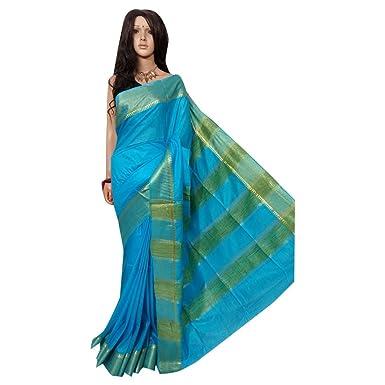 f1400bd6d8 Amazon.com: Bhagalpuri Silk handloom Handwork Saree Formal Wedding Indian  Beautiful zari Border Traditional Sari with Blouse Piece Handmade Bengal  Weavers ...