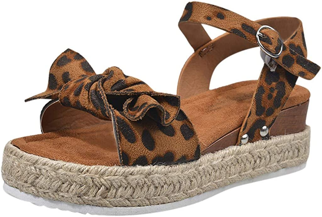 SSUPLYMY Ladies Retro Leopard Wedges Sandals Womens Fashion Casual Bowknot Solid Shoes Beach Open Toe Buckle Ankle Strap Espadrilles Ladies Summer Platform Sandals Size UK 3.5-7.5