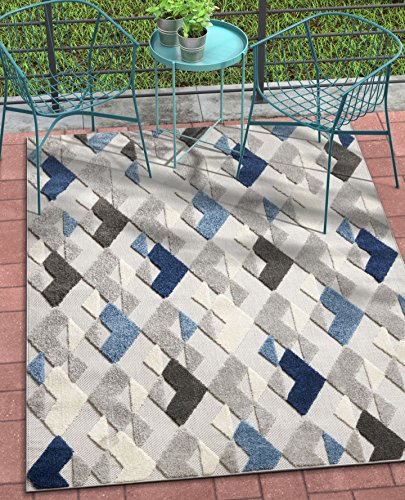 Well Woven Como Blue Indoor/Outdoor Diamonds Area Rug 8x11 (7'10