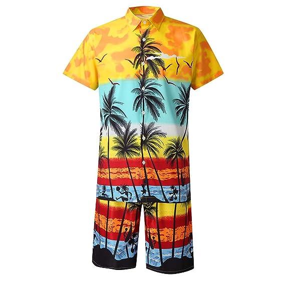 ZODOF Camiseta de Hombre Moda Hombre botón Casual Hawaii ...